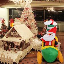 Giant Inflatable Christmas Decoration Santa Pilot A Plane With