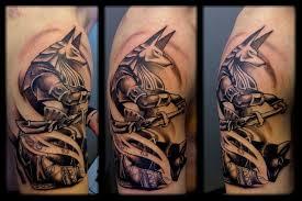 black shoulder tattoo black ink anubis tattoo on right shoulder