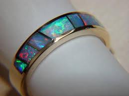 crystal opal rings images Australian opal crystal in 5mm wide 14 karat gold ring carusetta jpg