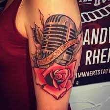 new flower microphone rose tattoo by solid heart tattoo