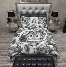 Bedding Pencil Sketch Rose Kissing Couple Sugar Skull Duvet Bedding Sets