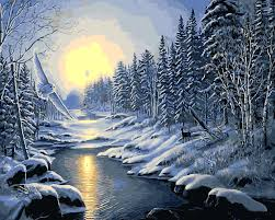 sells 4 panels mountain lake night winter painting canvas wall