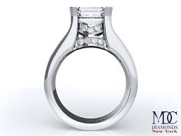 horizontal emerald cut engagement ring horizontal engagement rings from mdc diamonds nyc