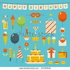 birthday stuff birthday celebration attributes vector icons object stock vector