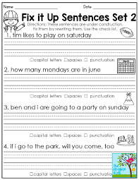 1st grade worksheets for january sentence for sentences and