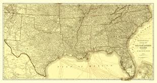 Map Of Southeastern States by Old Travel Map Southeastern States Roads 1923