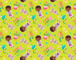 doc mcstuffins wrapping paper mcstuffins fabric etsy