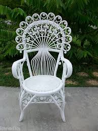 Shabby Chic Patio Decor by Gorgeous Peacock Wicker Scroll Work Chair Victorian Shabby Chic