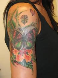 flower half sleeve tattoos butterfly and tropical flowers sleeve