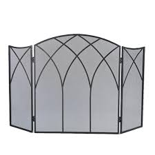 pleasant hearth gothic black steel 3 panel fireplace screen 633