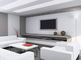 wall tv setup modern living room ideas white sofas shiny ceramic floor