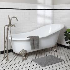 bathroom red clawfoot tub shower with waterstone faucets and