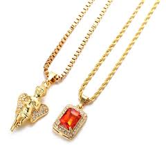 stone setting gold necklace images Halukakah quot gold bless all quot men 39 s 18k real gold plated angel ruby jpg