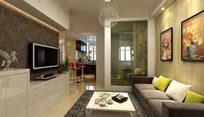 small living room apartment interior with textured wall feat