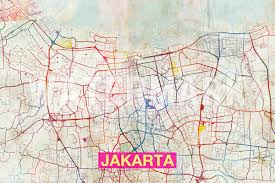 City Map Of Illinois by Jakarta Map Original Art Print City Street Map Of Jakarta