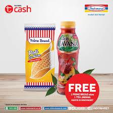 Teh Javana 350ml belanja pakai tcash min rp 50 000 di indomaret gratis 1 prime bread