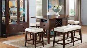 Dark Wood Dining Room Sets Cherry Espresso Mahogany Brown Etc - Tropical dining room sets counter height