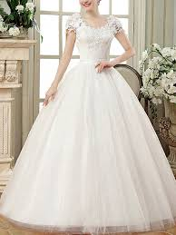 Dress For Wedding Party White Scoop Ball Gown Embroidery Dress For Wedding On Sale Dress