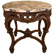 1930s french louis xv or country style oval marble top walnut