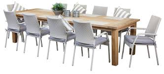 Teak Outdoor Dining Table And Chairs Dining Room Outdoor Dining Tables For 10 On Dining Room Shop Houzz