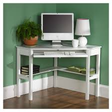 Wood Computer Desk Furniture Contemporary White Painted Wood Small Corner Computer