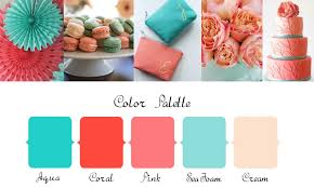 coral color aqua pink and coral wedding color palette ideas
