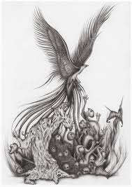 flying birds tattoo designs phoenix bird with skull tattoo design cool tattoos pinterest