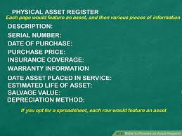 Fixed Asset Register Excel Template Expert Advice On How To Prepare An Asset Register Wikihow
