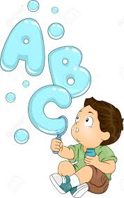 illustration of a kid playing with a bubble maker spouting letters