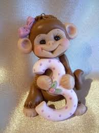 monkey cake topper polymer clay decoraton personalized by clayqts