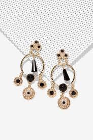 gunmetal chandelier earrings nasty gal baroque in spades chandelier earrings in metallic lyst