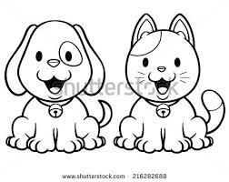 vector illustration cartoon cat dog coloring stock vector