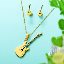 guitar pendant necklace images Baoyan casual style cool gold color 316l stainless steel guitar jpg