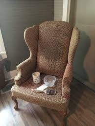 How To Reupholster A Wingback Armchair Chalk Painting A Wingback Chair Hometalk