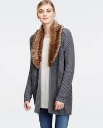 sweater with faux fur collar lyst faux fur sweater jacket in metallic
