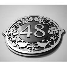 House Plate Art Nouveau House Number Plate By Black Fox Metalcraft