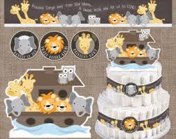 Noah S Ark Decorations Ark Diaper Cake Etsy