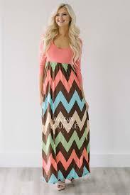 chevron maxi dress coral 3 4 length sleeve chevron maxi dress shop lola boutique