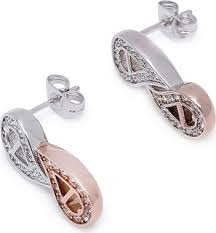 aigner earrings aigner gold and silver plated drop dangle earrings with zircon