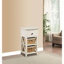 Cabinet End Table Pulaski Furniture Basket Bathroom Storage Wood Cabinet In White Ds