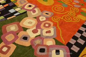 Decorative Wall Art by Klimt Wool Rugs Art Nouveau Green Rust Coral Abstract Wall