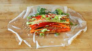 where to buy rice paper wraps fresh vegetable crunchy rolls with sriracha soy sauce tofu and