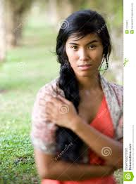 pacific islander hairstyles portrait of beautiful young pacific islander woman stock image