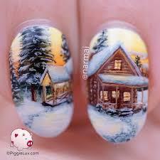 piggieluv freehand winter cabin landscape nail art