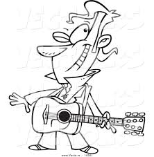 vector of a cartoon winking male guitarist outlined coloring