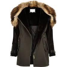 river island khaki faux fur trim parka winter coat in natural lyst