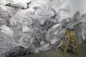 a sprawling wall sized mural drawn with only a black sharpie by maw big sean sullivan detai 1