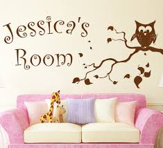 personalised wise owl wall sticker wise owl on tree branch wall art sticker personalised