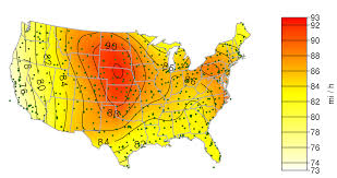 Map Of The 50 United States by Maps Of Non Hurricane Non Tornadic Extreme Wind Speeds For The