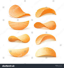 Ripple Chips Vector Set Potato Ripple Crispy Chips Stock Vector 481837366